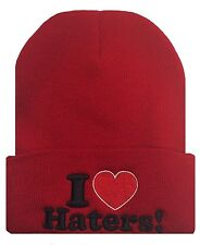 "HATER Cuffed Cuff Beanie Skull Cap Hat ""I love Haters"" Hip Red"