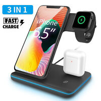 3 In 1 Qi Wireless Fast Charger Charging Dock Stand For iPhone 11 Pro Max X/XS/8