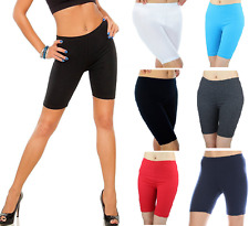 Ladie's Short Leggings Cropped Cotton Active Sports Fitness Run Bike Over-Knee!