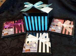 Folded Striped Gift Box Ribbon Present Birthday Party Jewellery Christmas Bag