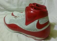 NIKE ZOOM UPTEMPO Size 18 White & Red Trim Leather Basketball Sneakers Shoes