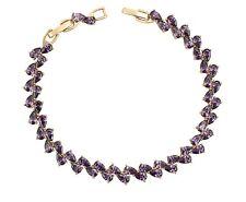 New 9CT Gold Filled  Tennis Bracelet Pear Cut Purple   CZ  B340
