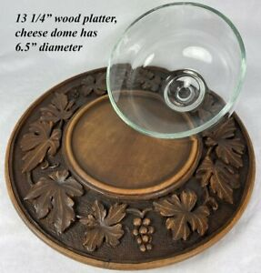 """Antique Hand Carved Swiss Black Forest 13 1/4"""" Cheese Tray w Glass Dome c. 1918"""