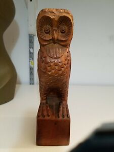 """Hand-carved Wood Owl 12"""" tall"""