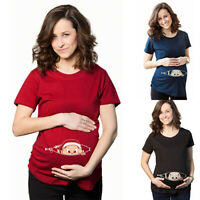 Fashion Peeking Baby Pattern Top Women Loose Maternity Pregnant Summer T-Shirt