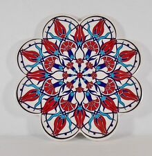 Trivet Ceramic Tile Blue/Red/White Floral Hot Plate Round Scalloped Turkish Made