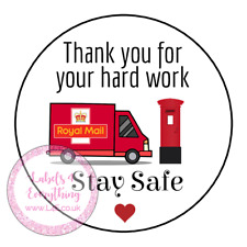 Thank You Hard Work Royal Mail Key Worker Gift Stickers Stay Safe Post Heart