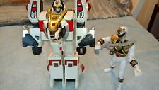 VINTAGE POWER RANGERS WHITE TIGERZORD AND WHITE RANGER ACTION FIGURES - Bandai