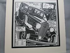 1932 Buick Sedan   Auto Pen Ink Hand Drawn  Poster Automotive Museum