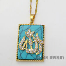 gold plated muslim Allah turquoise pendant & necklace , charm crystal