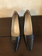 Genuine Chanel Brown With Heel Logo Pumps Shoes Size 39