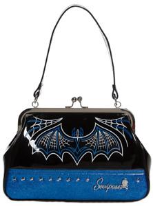 Sourpuss Batty Pinstripe Purse Blue Rockabilly Gothic Retro Derby Bat Handbag