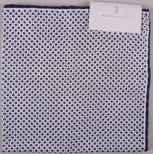 Brunello Cucinelli Pocket Square Navy Blue White Diamond Polka Dot BNWT