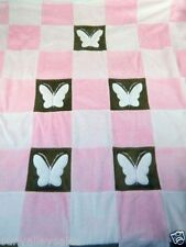 Amy Coe Butterfly Pink Brown Squares Patchwork Limited Edition Baby Blanket