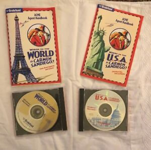 Vintage - Where in the World USA is Carmen Sandiego? (PC/Mac) CD-ROM lot of 2