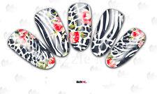 Nail Art Sticker Water Decals Transfer Zebra Stripes Leopard Spots (DC185)