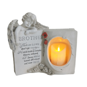 Brother Guardian Angel Book Graveside Memorial With LED Candle