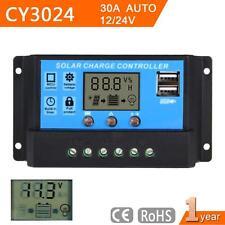 LCD 30A 12V 24V PWM Solar Panel Battery Regulator Charge Controller Timer WT