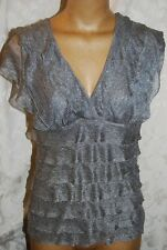 Max Edition Size L Silver Gray V-Neck Lined Knit Ruffle Dress Top NWT RP $58