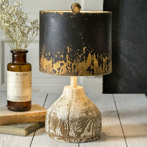 Rustic Wood Base Tabletop Lamp with Distressed Metal Shade