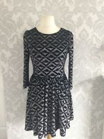 Ladies topshop black silver stretch Xmas party  skater fit flare dress size 10