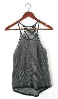 Eileen Fisher Womens XS Black White Tank Top Knit Spaghetti Strap Camisole Shirt