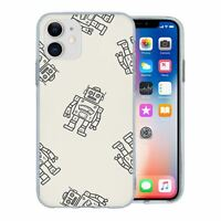 For Apple iPhone 11 Silicone Case Robots Kids Grey - S1915