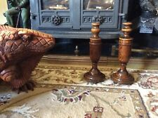 Vintage Turned Wood Candlestick Holders Matching Pair