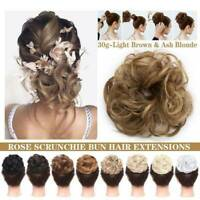 UK Thick Messy Bun Hair Piece Scrunchie Updo Wrap Hair Extensions Real as human