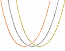 "14K Rose White Yellow Gold 1.5mm 1.8mm 2.5mm Rope Chain Pendant Necklace 14""-30"""