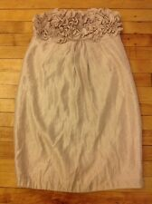 Alexia Admore Shimmering Tan Ruffle Chest Strapless Dress, Size Small
