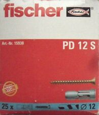FISCHER - PD12S 12mm WALL PLUGS with Screws - Box 25  - p/n 15938