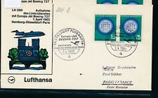 13862) LH FF Düsseldorf - Paris 1.4.65, SoU MeF 2x 15PF Atom Otto Hahn