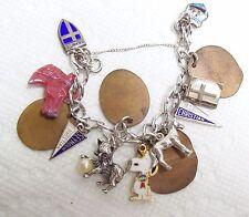 Vintage Sterling Charm Bracelet w/ Various Items  Flattened Pennies Cracker Jack