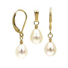 FEINES SET ● Zucht Perlen Ohrringe weiß + Anhänger ygf 14k Gold 585