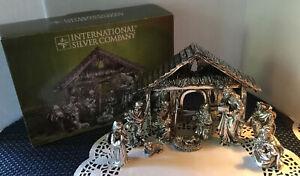 Vintage International Silver Company 10 Piece Nativity Set Silver Plated