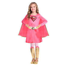 Childs Pink Supergirl Fancy Dress Costume DC Comic Superhero Girls Race For Life