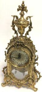 Beautiful Vintage Ornate Brass Mantle Clock - No Pendulum - It Seems working