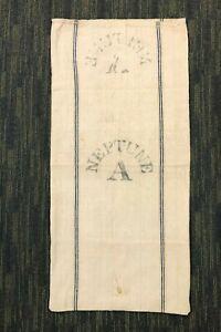 Antique PRINTED HEMP LINEN FEED SACK Fabric GRAIN BAG 19x40 Gettysburg History