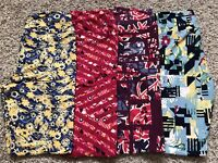 LULAROE Leggings Size OS Lot of 4 Pink Blue Yellow Red Stripes Floral Geometric