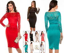 Sexy KouCla Kleid mit Spitze Party Cocktail Abendkleid Hochzeit Schößchen 34-48