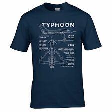 Eurofighter Typhoon Blueprint T-Shirt - Aircraft RAF FGR4 Plane Design Mens Top