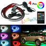 4 PCS RGB 48 LED Strip Neon Light Kit Under Car Tube Underglow Underbody System