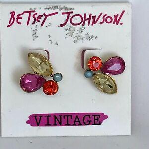 Betsey Johnson Vintage Rhinestone Earrings