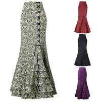 Women Fishtail Gothic Corset Skirt Mermaid Steampunk Vintage Victorian Size