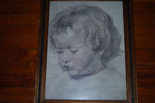 "Peter Paul Rubens Vintage Print ""Head of Boy"" Nikolas 1621 Framed Art"