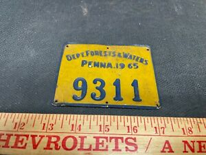 1965 Penna. Dept. Forests & Waters Metal Hunting License