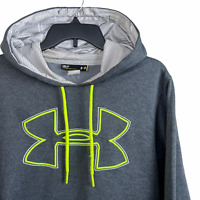Under Armour Storm Hoodie Men's Small Loose Gray Pullover Sweater Yellow Logo