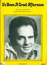 "MERLE HAGGARD ""IT'S BEEN A GREAT AFTERNOON"" PIANO/V/GUITAR SHEET MUSIC 1978 RARE"