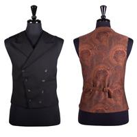 Men's Black Waistcoat Double Breasted Wool Dress Vest Luxury Wedding Victorian L